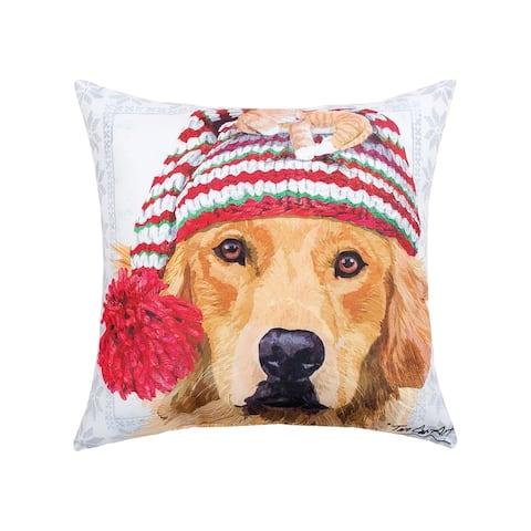 Winter Hat Golden Printed 18 Inch Accent Decororative Accent Throw Pillow