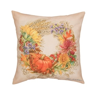 Autum Wreath Printed 18 Inch Accent Pillow