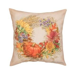 Autum Wreath HD Indoor/Outdoor 18 Inch Throw Pillow