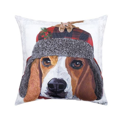 Winter Hat Beagle HD Indoor/Outdoor 18 Inch Throw Pillow
