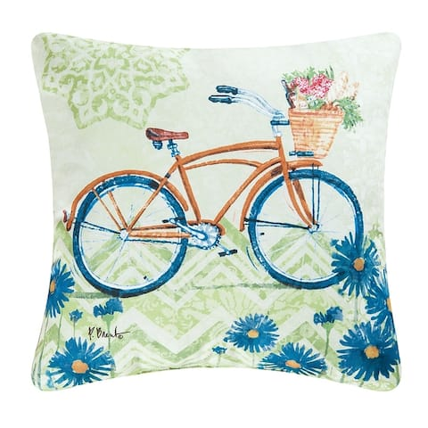 Yellow Bicycle Indoor/Outdoor 18x18 Throw Accent Decorative Accent Throw Pillow