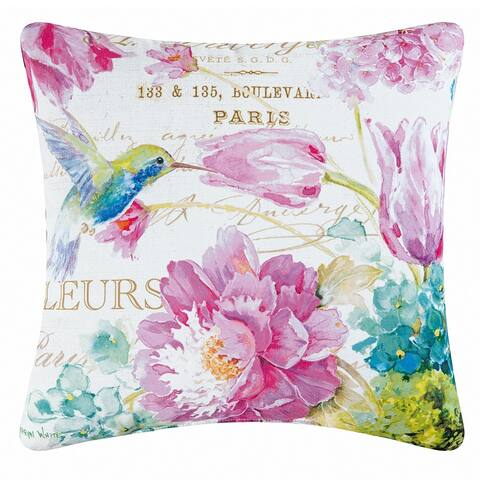 Hummingbird Flower Indoor / Outdoor 18x18 Decorative Accent Throw Pillow