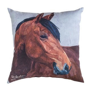 Bay Horse Printed 18 Inch Accent Pillow