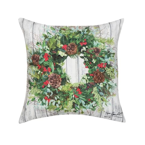 Christmas Wreath Indoor/Outdoor 18x18 Throw Accent Decorative Accent Throw Pillow
