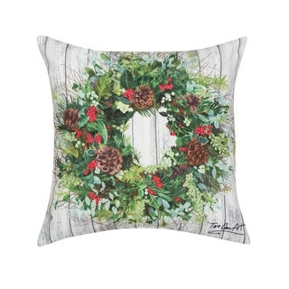 Christmas Wreath HD Indoor/Outdoor 18 Inch Throw Pillow