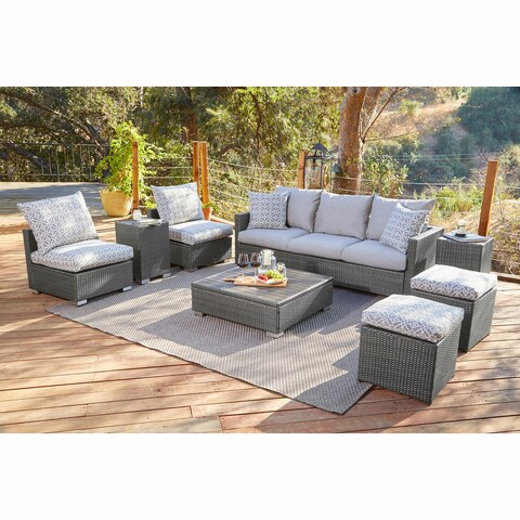 Handy Living Aldrich Grey Indoor/Outdoor 8 pc Seating Group with Grey and Taupe Cushions