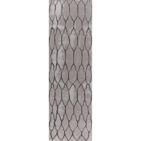 "Seren Tlight Collection Gray Runner Rug - 2'3"" x 8'"