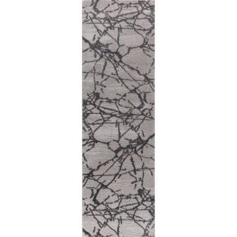 """Shari Tlight Collection Gray Runner Rug - 2'3"""" x 8'"""