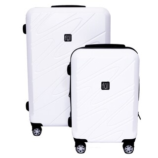 Ful Scribble White 2-piece Expandable Hardside Spinner Luggage Set