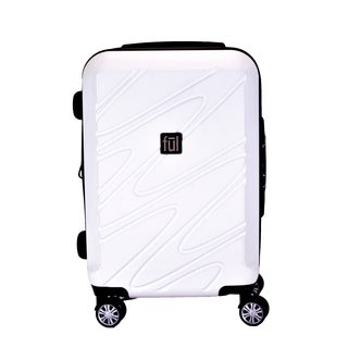 Ful Scribble White 21-inch Expandable Carry On Hardside Spinner Suitcase