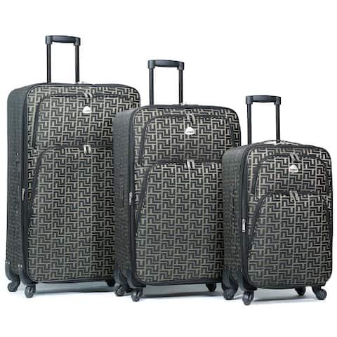 World Traveler Signature Designer Print 3-Piece Expandable Spinner Luggage Set