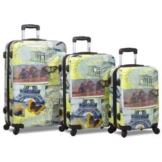 World Traveler Pop Art Mosaic 3-Piece Hardside Spinner Luggage Set