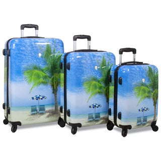 World Traveler Beach Collection Palm Tree 3-Piece Hardside Spinner Luggage Set