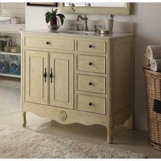 "38"" Benton Collection Fayetteville Cream Bathroom Sink Vanity & BS"