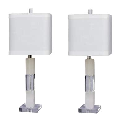 Fangio Lighting's #5152-2PK Pair of 26 in. Stacked Block Table Lamps in a Clear Crystal & Snow Marble Finish