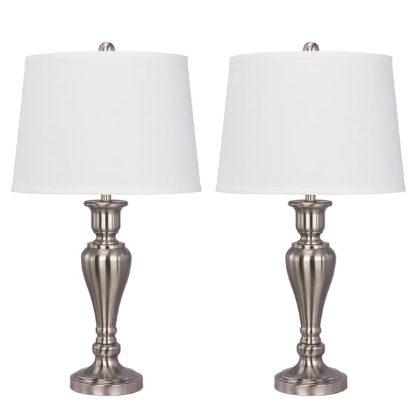 "Fangio Lighting's #1483BN-2PK: Two 26.5"" Brushed Nickel Metal Table Lamps For The Price Of One!"