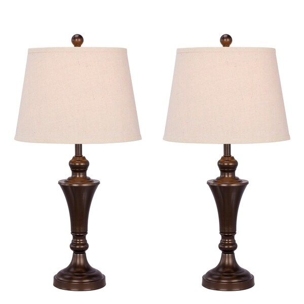 "Fangio Lighting's #1481BRZ-2PK: Two 26"" Bronze Metal Table Lamps For The Price Of One!"