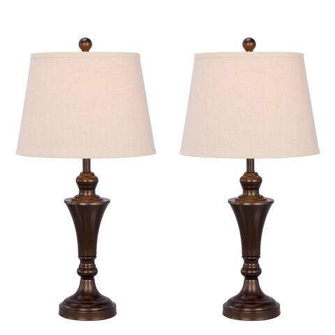 """Fangio Lighting's #1481BRZ-2PK: Two 26"""" Bronze Metal Table Lamps For The Price Of One!"""