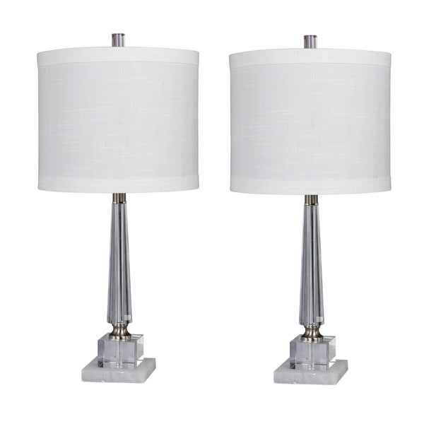 Fangio Lighting's #5146-2PK Pair Of 26 in. Tapered Table Lamps in a Clear Crystal & Snow Marble Finish