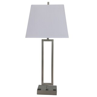 Fangio Lighting's #1753XUSB 25.5 in. Tech-Friendly Metal Table Lamp in a Brushed Nickel Finish w/ 1 Outlet & 1 USB Port