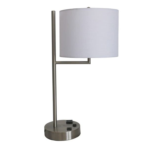 Fangio Lighting's #1752XUSB 20 in. Tech-Friendly Metal Table Lamp in a Brushed Nickel Finish w/1 Outlet & 1 USB