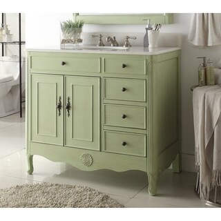 "38"" Benton Collection Fayetteville Distressed Green Bath Vanity & BS"
