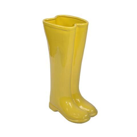 Sagebrook Home Ceramic Boots Umbrella Stand, Yellow