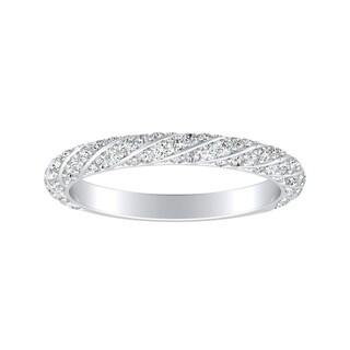 Auriya Platinum 1/2ct TDW Swirled Diamond Wedding Band - White G-H