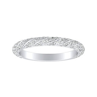 Auriya 18K Gold 1/2ct TDW Swirled Diamond Wedding Band - White G-H