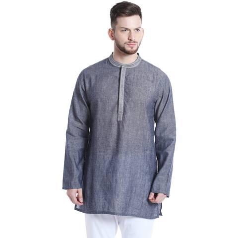 Shatranj Men's Mandarin Collar Classic Mid-Length Kurta Tunic with Space Dye