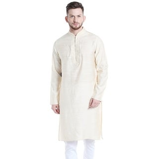 Shatranj Men's Indian Banded Collar Long Kurta Tunic with Embroidered Placket