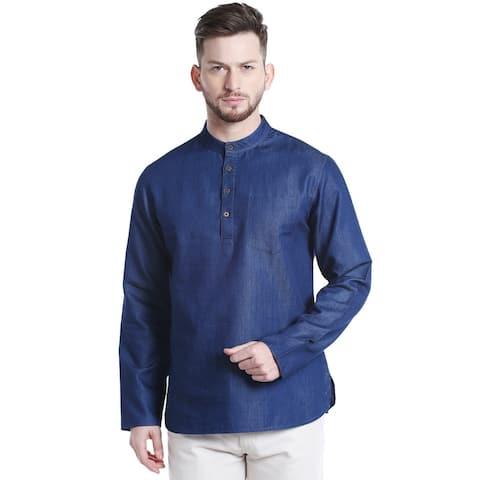 Shatranj Men's Limited Edition Cotton Kurta Tunic with Denim Texture
