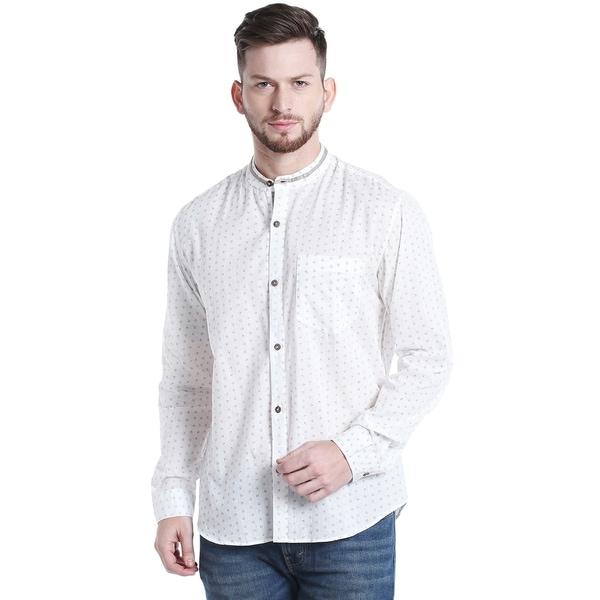 Handmade Indian Print Mandarin Collar Button-Down Shirt
