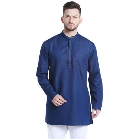 Shatranj Men's Mandarin Collar Mid-Length Denim Blue Indian Kurta Tunic