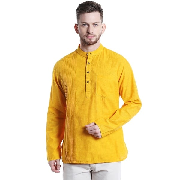 2192a7999c8 Shatranj Men's Mandarin Collar Pintucked Cotton Indian Kurta Tunic