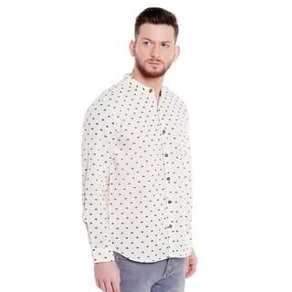 Shatranj Men's Pure Cotton Button Down Shirt with Indian Leaf Print