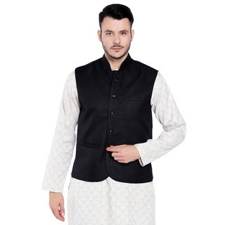 Shatranj Men's Indian Mandarin Collar Nehru Button Down Vest with Three Pockets