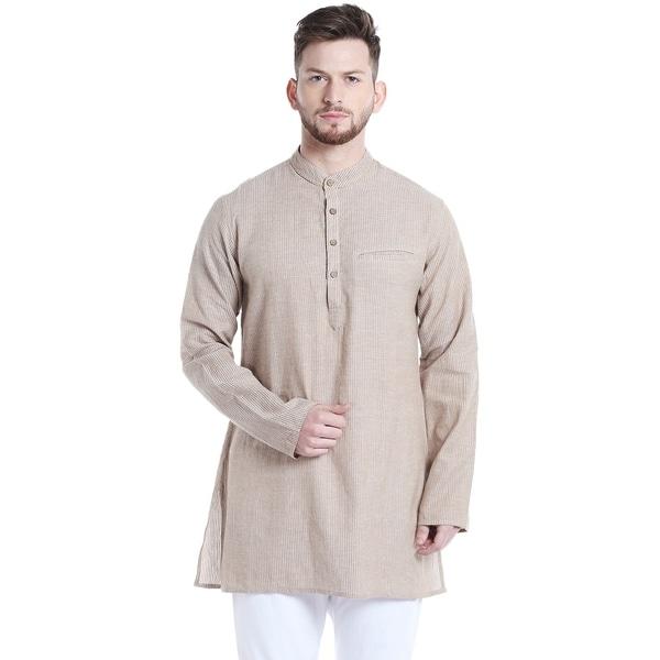 4351a28b294 Shatranj Men's Indian Classic Mandarin Collar Vintage Style Stripe  Kurta Tunic