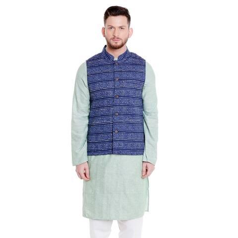Shatranj Men's Banded Collar Button Down Cotton Vest with Artistic Indian Prints