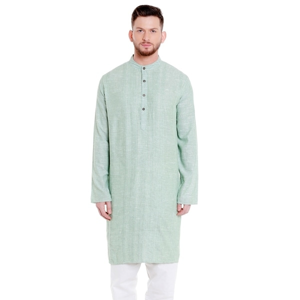 Shatranj Mens Indian Banded Collar Cotton Classic Kurta Tunic with Pintucks