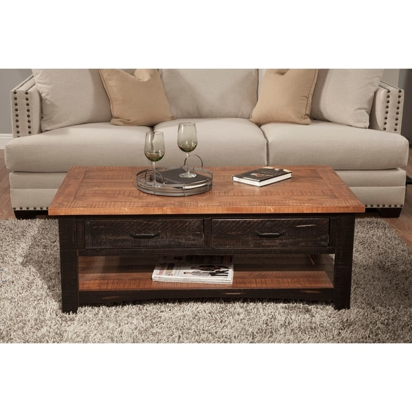 Martin Svensson Home Rustic Series 2 Drawer Solid Wood Coffee Table