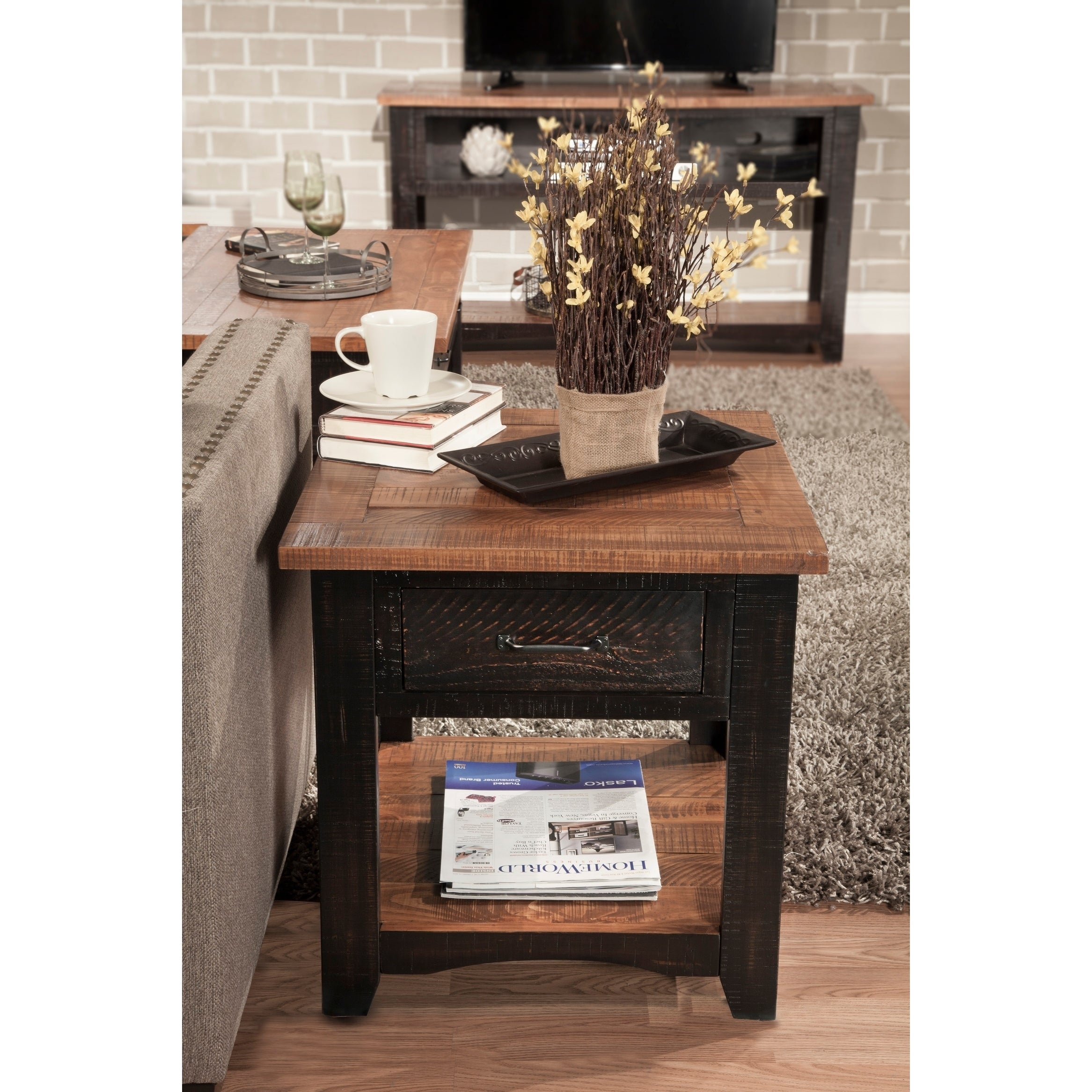 Martin Svensson Home Rustic Series 1 Drawer Solid Wood End Table