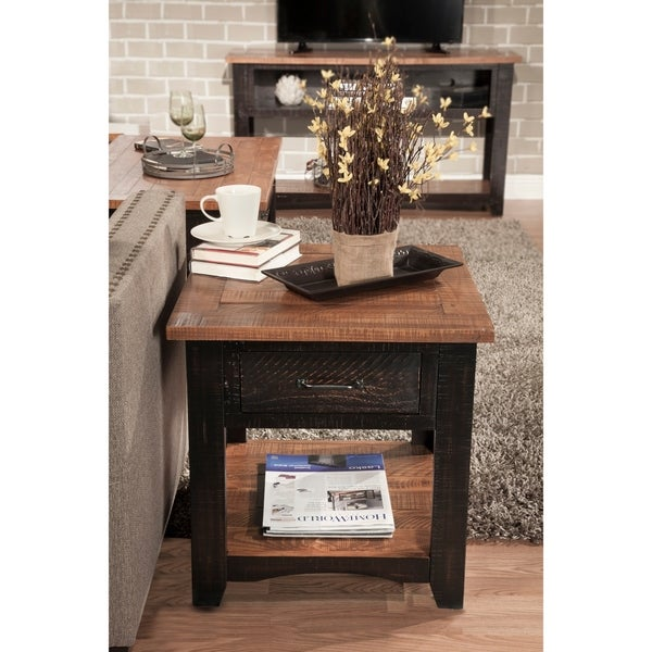 Martin Svensson Home Rustic Series 1-Drawer Solid Wood End Table