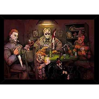 Slashers Playing Poker Poster With Choice of Frame (24x34)