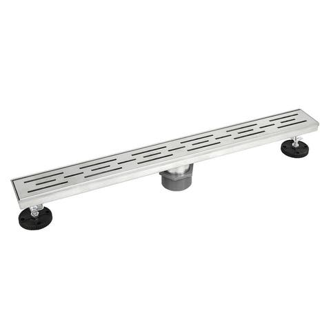 Shower Linear Drain 28inch Stripe Pattern Grate -w/Threaded Adaptor and Adjustable Leveling Feet