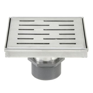 Shower Square Drain 6inch -Stripe Pattern Grate w/Threaded Adaptor and Adjustable Leveling Feet