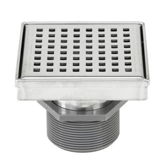 Shower Square Drain 4inch Checker Pattern Grate -w/Threaded Adaptor and Adjustable Leveling Feet