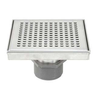 Shower Square Drain 6inch Checker Pattern Grate -w/Threaded Adaptor and Adjustable Leveling Feet
