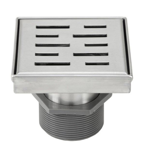 Shower Square Drain 4inch -Stripe Pattern Grate w/Threaded Adaptor and Adjustable Leveling Feet