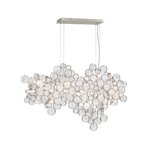Eurofase Trento 12-light Champagne-silver Wire Frame Oval Chandelier with Clustered Glass